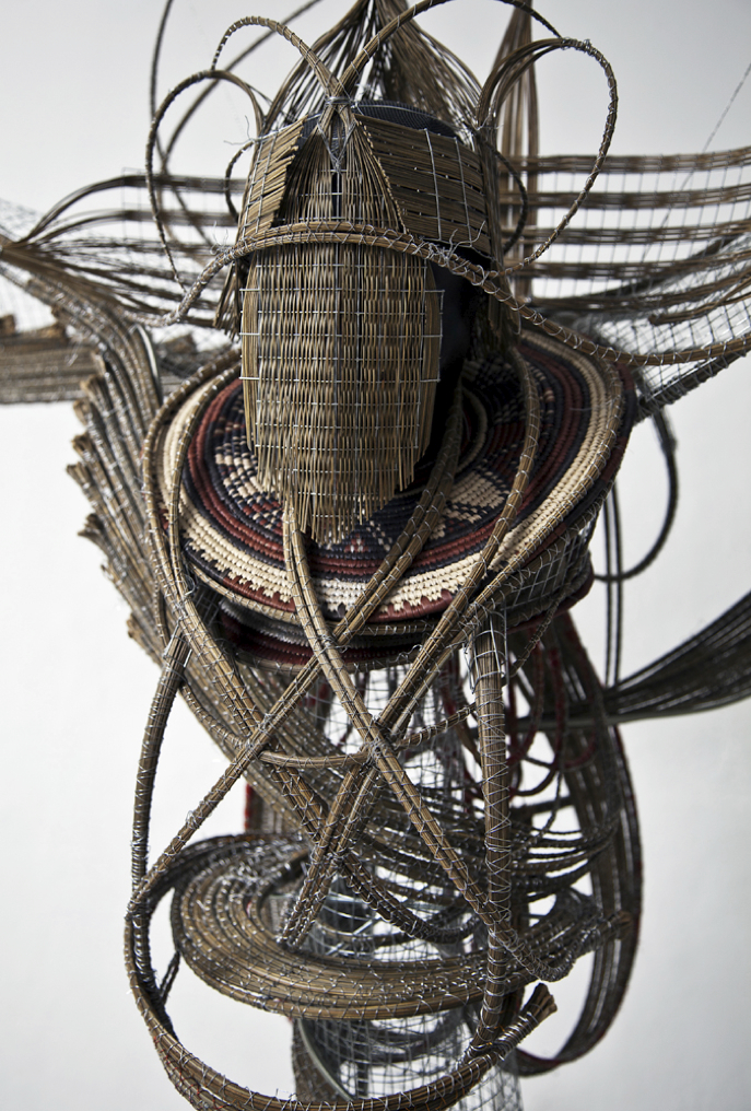 Adejoke Tugbiyele, Flight to Revelation, 2011.  Palm stems, wire mesh, steel wire, trivets, and mannequin head,  72 x 60 x 36 cm. Photo courtesy the artist.